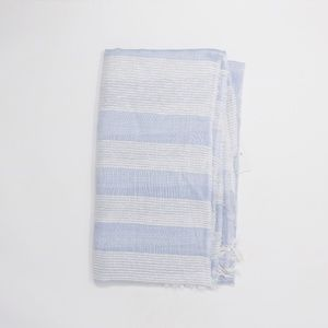 Accessories - Texture Blocked Scarf With Fringe New Blue Cloud